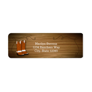 Wooden Western Rope & Boots Party Address Labels
