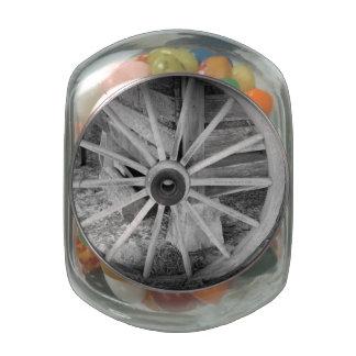 Wooden Wheel Glass Candy Jar