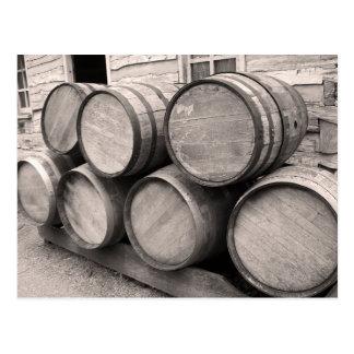 Wooden Whiskey Barrels Postcard
