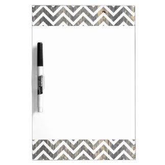 Wooden & White Chevrons Dry Erase Board
