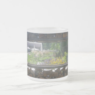 Wooden window view frosted glass coffee mug