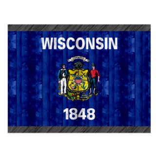 Wooden Wisconsinite Flag Postcard