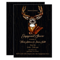 Wooden Wood Deer Rustic Country Engagement Shower Card