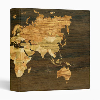 Wooden World Map 3 Ring Binder