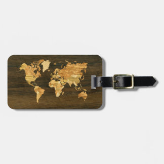 Wooden World Map Bag Tag