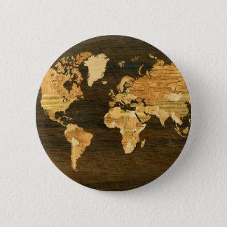 Wooden World Map Button