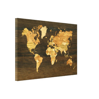 Wooden World Map Stretched Canvas Prints