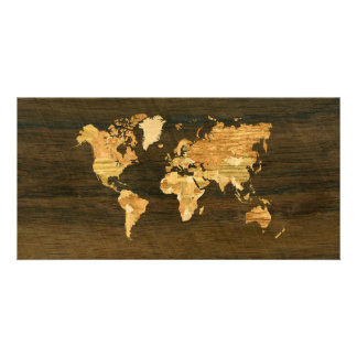 Wooden World Map Card