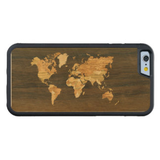 Wooden World Map Carved Maple iPhone 6 Bumper Case