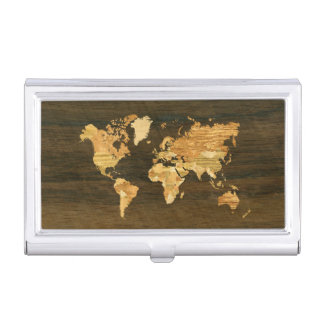 Wooden World Map Case For Business Cards