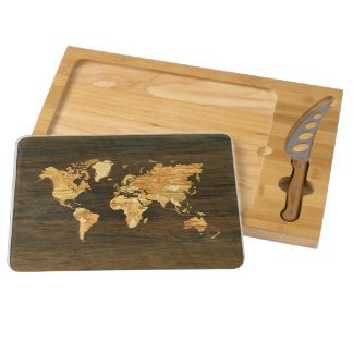 Wooden World Map Cheese Board