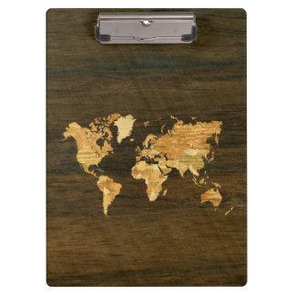Wooden World Map Clipboard