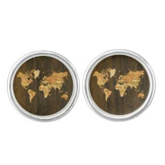 Wooden World Map Cufflinks