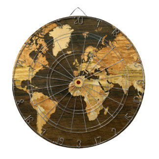 Wooden World Map Dartboard With Darts