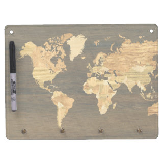Wooden World Map Dry Erase Board With Keychain Holder