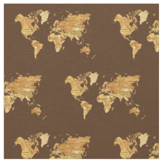 Wooden World Map Fabric