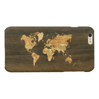 Wooden World Map Glossy iPhone 6 Plus Case