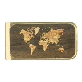 Wooden World Map Gold Finish Money Clip