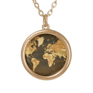 Wooden World Map Gold Plated Necklace