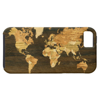 Wooden World Map iPhone 5 Covers
