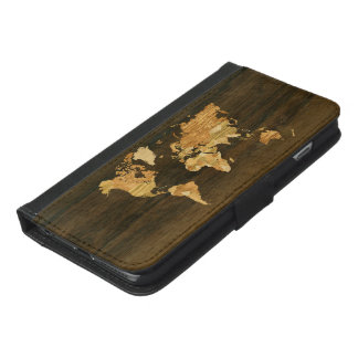 Wooden World Map iPhone 6/6s Plus Wallet Case