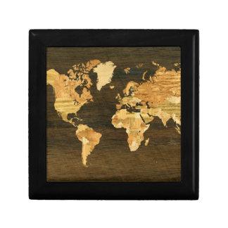 Wooden World Map Jewelry Box