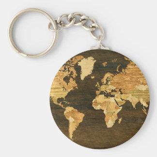 Wooden World Map Keychain