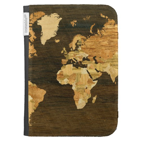 Wooden World Map Kindle 3G Case