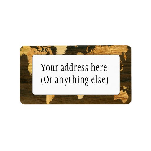 Wooden World Map Custom Address Label