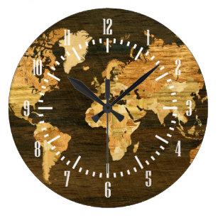 World map wall clocks zazzle wooden world map large clock gumiabroncs Images