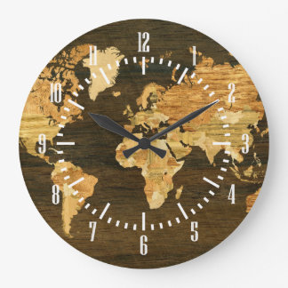 Wooden World Map Large Clock