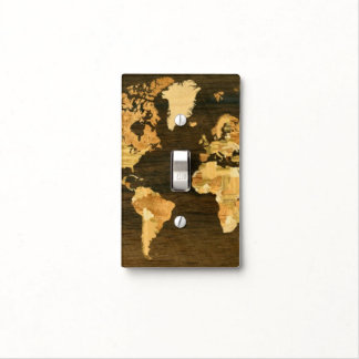 Wooden World Map Light Switch Cover