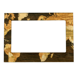 Wooden World Map Photo Frame Magnets