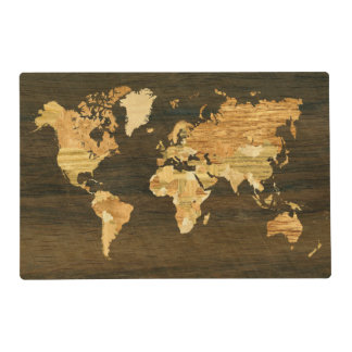 Wooden World Map Laminated Place Mat