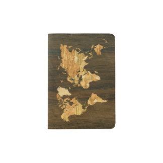 Wooden World Map Passport Holder