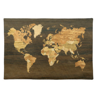 Wooden World Map Placemat