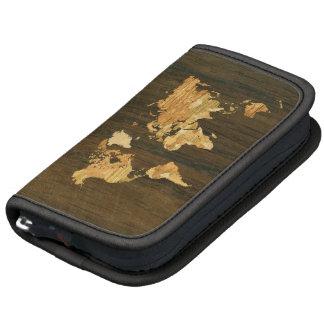 Wooden World Map Folio Planner