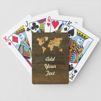 Wooden World Map Poker Deck