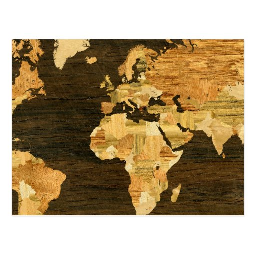Wooden World Map Postcard Zazzle