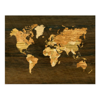 Wooden World Map Post Cards