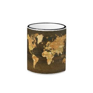 Wooden World Map Ringer Mug