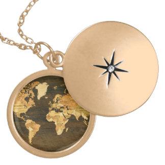 Wooden World Map Round Locket Necklace
