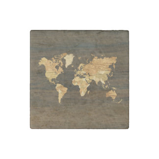 Wooden World Map Stone Magnet