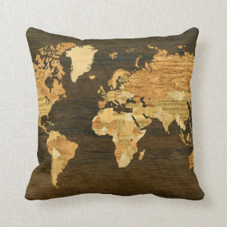 Wooden World Map Throw Pillow