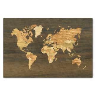 Wooden World Map Tissue Paper