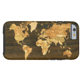 Wooden World Map Tough iPhone 6 Case
