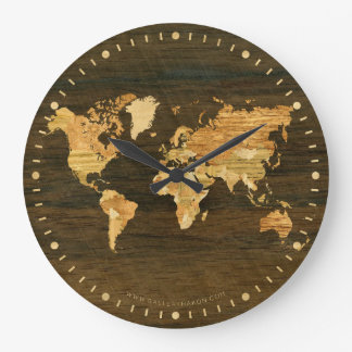 Wooden World Map Wall Clocks