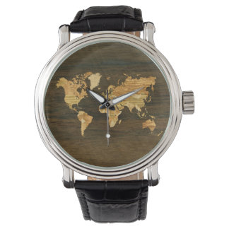 Wooden World Map Watches