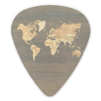 Wooden World Map White Delrin Guitar Pick by Hakonart at Zazzle
