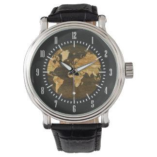 Wooden World Map Wristwatches